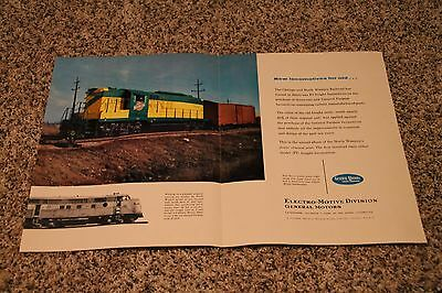General Motors Locomotives 2 Page Advertisement With Chicago & North Western RR