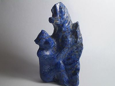 Very Nice VTG Antique 100% Natural Lapis Lazuli Hand-carved statue-LUCKY MONKEY!