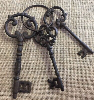 Set of rustic CAST IRON KEYS on ring Jail Skeleton Antique Vintage style 3 key