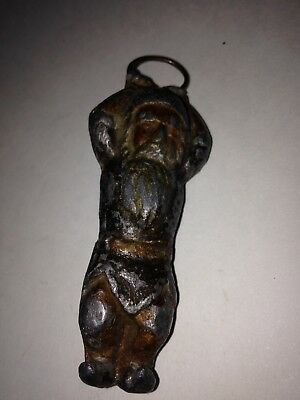 Early Heavy Hanging Santa Claus Cast Iron Lead? Original Christmas Ornament Look