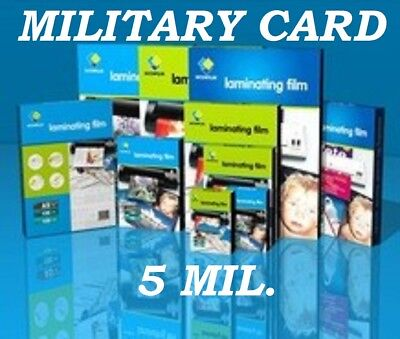 Clear 500 MILITARY CARD Laminating Laminator Pouches Sheets 2-5/8 x 3-7/8 5 Mil