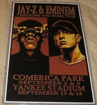 Jay-Z & Eminem 2010 Home & Home Replica Concert Poster W/protective Sleeve