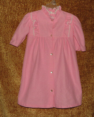 Sweet Vintage Jackie's Girls Pink Polyester Housecoat Robe Size 2 Made In U.s.a.