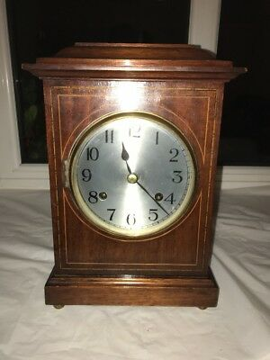 Antique Mahogany Cased British Made Newhaven mantle Clock Working perfectly