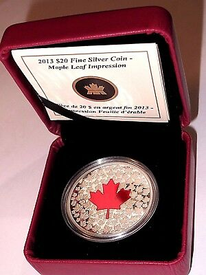 CANADA, 2013, Red Maple Leaf Impression, One Ounce of .9999 Pure Silver
