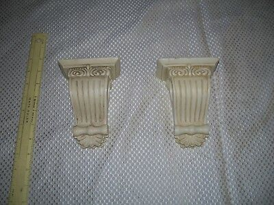 "1 Pair White Resin Corbel Curtain Rod Holder's 5 1/2 "" H  2 1/2 "" wide"