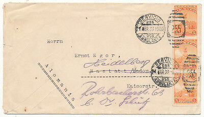 Mexico # 637 Vertical Strip/3 Cover To Germany Railway Mail Tpo (1933)