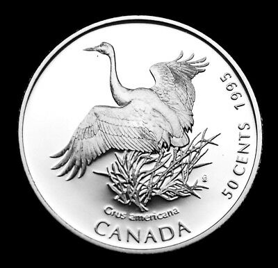 Whooping Crane 50¢ ulra cameo silver coin 1995:  Canada on the Wing