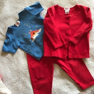 Infant's Zutano Three Piece Outfit Jacket, Tee, and Pants Size 12-18 months