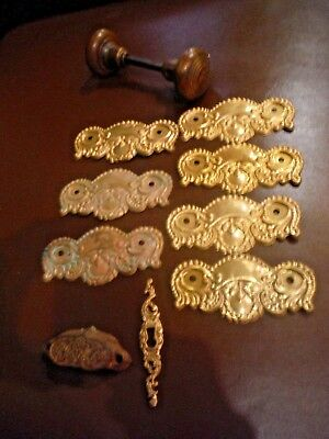 Lot of Antique Vintage Salvaged Door Hardware Knobs Handles Back Plates Etc.