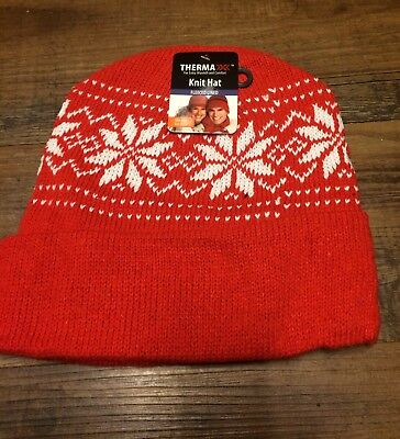 NWT Red Therma Knit Fleece lined Snowflake Hat/ toboggan.WARM! LINED!MADE IN USA