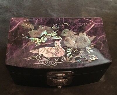Antique mother of pearl inlaid purple box