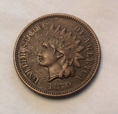 1870 Indian Head Cent - Key Date *Pick-Axe* Tough Variety