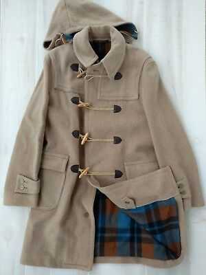 Loden Frey Convoy Check Men's Vintage Light Brown Wool Toggle Hooded Coat