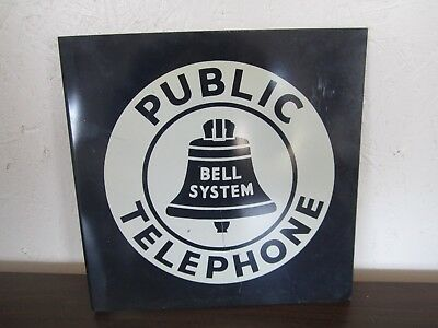 Vintage Porcelain Double Sided Bell System Public Telephone Flange Sign