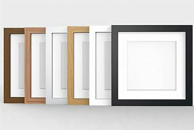 Square Photo Picture Frame with White Mounts Wood Effect Black White Oak