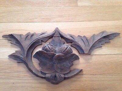 Antique 19Thc Architectural Salvaged Hand Carved Wooden Pediment Topper