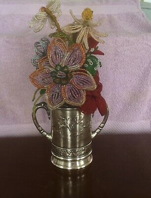 Victorian Silverplate Vase of Colorful Beaded Flowers