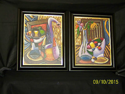 Melvin King Chicago Artist Pair of Acrylic On Canvas Still Life Paintings
