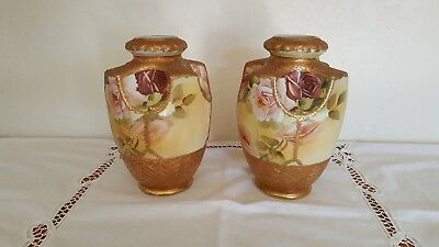 "Pair of 1911 Antique Japanese Nippon 8.5"" Tall Hand-Painted Vases (2)"