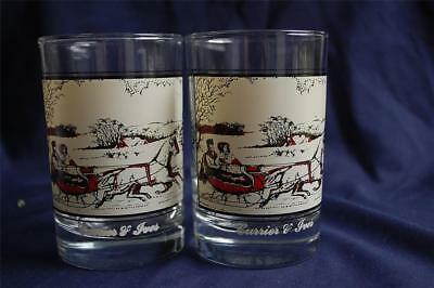 2 Vintage 1981 Arby's Currier & Ives Collection Glasses American Farm in Winter