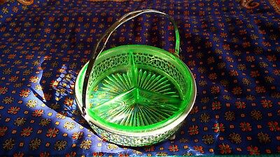 "Vintage 5"" Green Depression Glass Divided Relish Dish metal basket with handle"