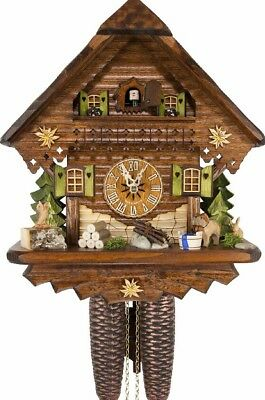 Cuckoo Clock 8 Day Movement German Chalet Style Wooden Black Forest Clock Dog