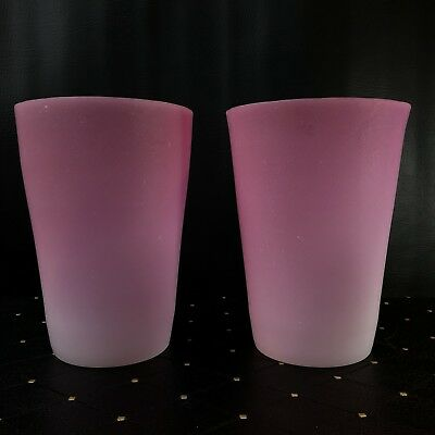 """Pair Of Antique New England Peachblow Conical Large 8"""" X 6"""" Vases"""