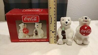 Coca Cola Playtime Cubs Salt And Pepper Shakers  with Box from Gibson