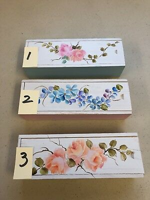 Antique Shabby Chic Style Domino's In Hand Painted Box Roses gift