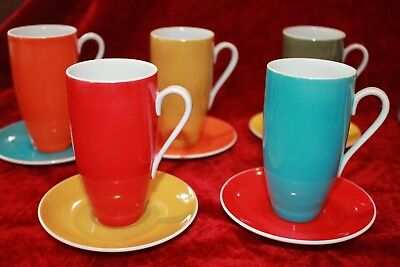 RETRO vintage HARLEQUIN coffee set long cups saucers JAPAN bright crazy tea vgvc