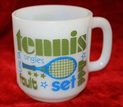 vintage GLASBAKE Tennis milk glass mug Fire King ish vgvc TENNIS FAN