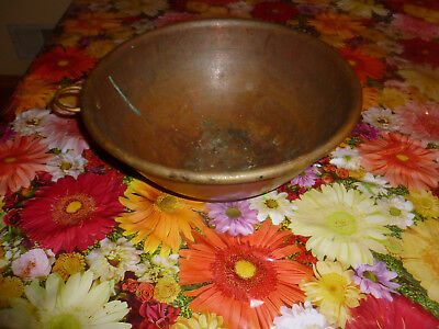 """Vintage  old brass large bowl 6"""" tall by 6"""" round  hammered made 20Century"""