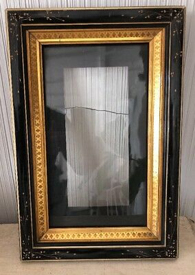 "Antique VICTORIAN AESTHETIC EASTLAKE Ebonized Antique Picture Frame 15.5"" X 10"""