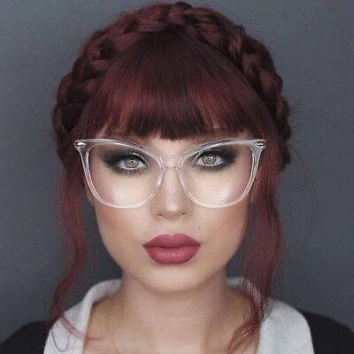 "Elite Oversized Cat Eye ""Miss FEARLESS"" Thick Frame Women Eyeglasses Clear Lens"