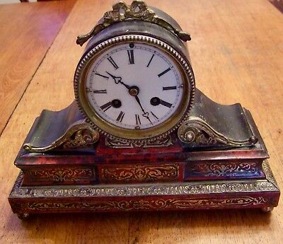 Pretty 19Th Century Eight Day  French Boule Work Mantle Clock  (Japy)