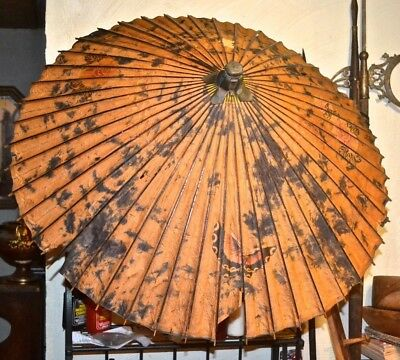 Antique Chinese Rice Paper and Bamboo Hand Painted Parasol Umbrella Vtg c.1900