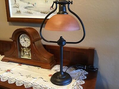 Table Lamp, Hammered, Steel, Arts & Crafts Vintage Look