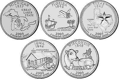 2004 US State Quarters Five Uncirculated Straight from mint US Mint