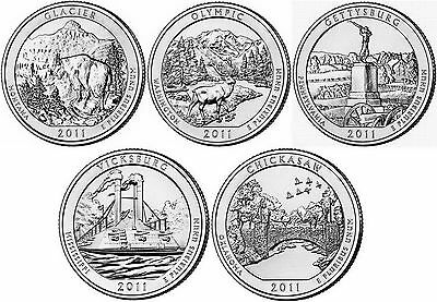 2011 US National Park Quarters Five Coins Uncirculated Straight from the US Mint