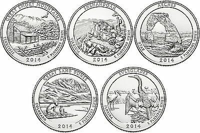 2014 US National Park Quarters Five Coins Uncirculated Straight from the US Mint