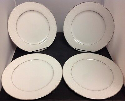 """Set of 4 Crown Victoria Fine China """"LoveLace"""" 10 3/8"""" Dinner Plates - Excellent"""