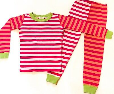 Hanna Andersson Girls 120 (US 6-7) Striped Long Johns