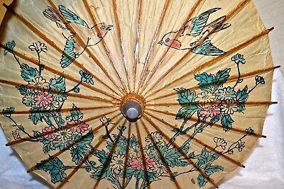 Antique Chinese Rice Paper and Bamboo Hand Painted Parasol Umbrella Vtg c.1960