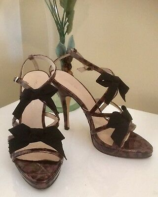 ZOE WITTNER Ladies Shoes Size 36 All Leather Marble Strappy Heel w/Bow EC Party