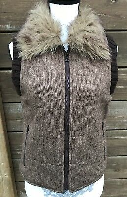 ROXY Vest Faux Fur Trimmed Sleeveless Zip Up Vest Brown Wool Blend Size Medium M
