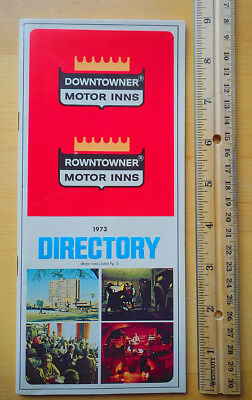 Downtowner Motor Inns 1973 Directory Excellent Cond! Vintage Hotel Motel Guide
