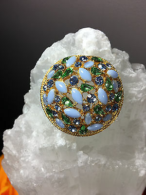 Gorgeous True Vintage Art Rhinestone Blue Green Cabochon Dome Pin Brooch Signed