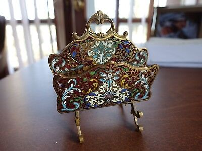 Antique Cloisonne Vintage Cast Brass Enamel Letter Holder - Victorian era?
