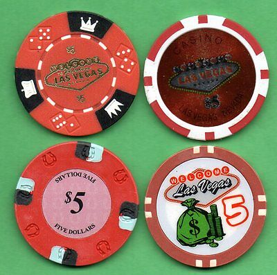 Lot of 4 Poker Chips 1 Clay Lucky Horseshoe & 3 Welcome to Fabulous Las Vegas